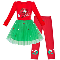 Girls Outfit Set Cotton Dress Leggings Santa Hat Christmas Gift Size 4-6 Years