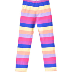 Girls Outfit 2 Piece Set Cotton Heart Striped Rainbow Dress Leggings Size 3-8 Years