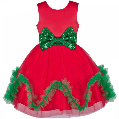 Girls Dress Christmas Holiday Red Wave Hem New Year Party Size 4-8 Years