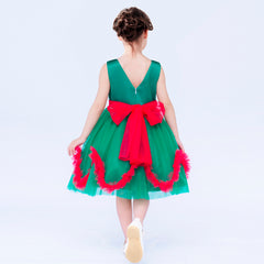 Girls Dress Christmas Holiday Green Wave Hem New Year Party Size 4-8 Years