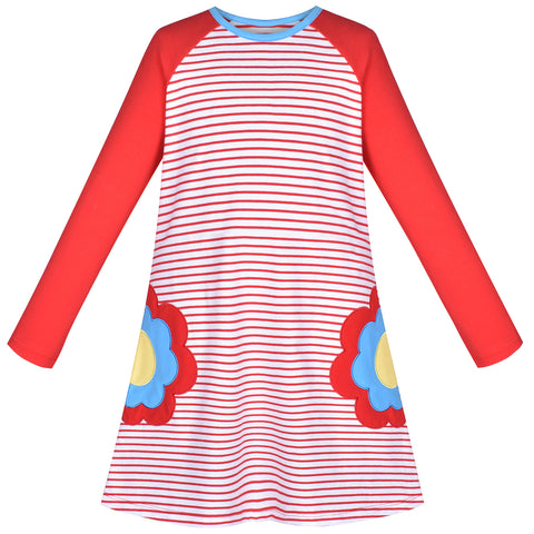 Girls Dress Long Sleeve Red Flower Embroidery Striped Casual Cotton Size 3-8 Years