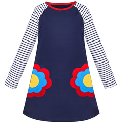 Girls Dress Long Sleeve Navy Blue Flower Embroidery Casual Cotton Size 3-8 Years