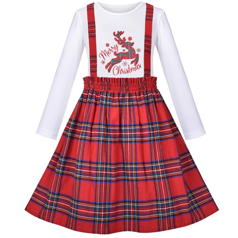 2 Piece Set Girls T-Shirt Suspender Skirt Christmas Red Checkered Reindeer  Size 4-10 Years