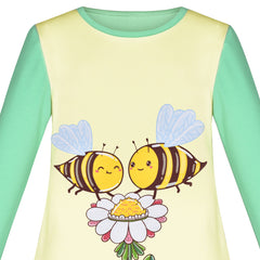 Girls Dress Long Sleeve Bees Flower Casual Cotton Size 3-6 Years