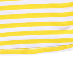 Girls Dress Yellow Long Sleeve Color Contrast Striped Casual Cotton Size 3-8 Years