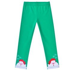Girls Pants 2-Pack Cotton Leggings Pants Embroidery Satan Christmas Size 2-6 Years