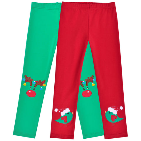 Girls Pants 2-Pack Cotton Leggings Pants Embroidery Reindeer Christmas Size 2-6 Years