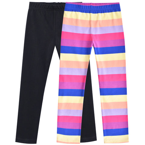 Girls Pants 2-Pack Cotton Leggings Pants Colorful Striped Size 3-8 Years