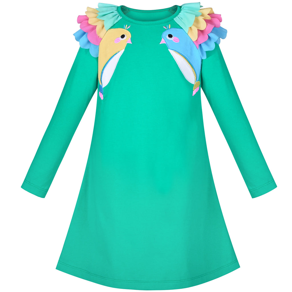 Girls Dress Turquoise Long Sleeve Ruffle Shoulder Casual Cotton Size 3-8 Years