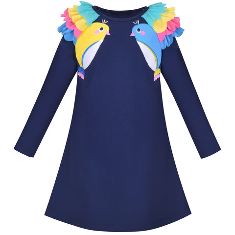 Girls Dress Navy Blue Long Sleeve Ruffle Shoulder Casual Cotton Size 3-8 Years