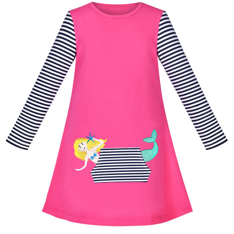 Girls Dress Mermaid Princess Long Sleeve Pocket Casual Cotton Size 3-8 Years