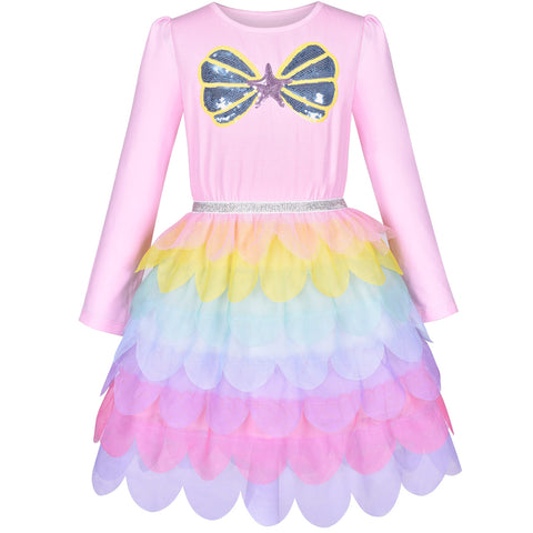 Girls Dress Mermaid Princess Long Sleeve Rainbow Ruffle Skirt Size 8-10 Years