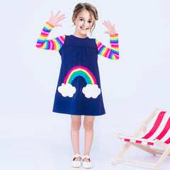 Girls Dress Unicorn Rainbow Cloud Pocket Long Sleeve Cotton Size 3-8 Years
