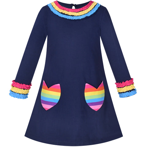Girls Dress Rainbow Flower Pocket Long Sleeve Cotton Casual Size 3-8 Years