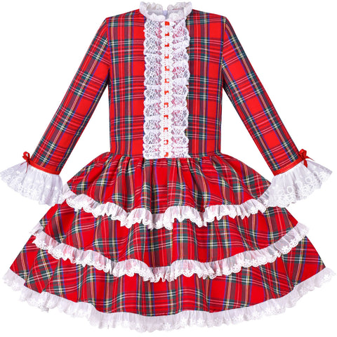 Girls Dress Red Checkered Lace Ruffle Skirt Long Sleeve Christmas Size 4-8 Years