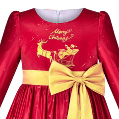 Girls Dress Christmas Red Gold Tree Reindeer New Year Party Size 5-10 Years
