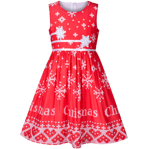 Girls Dress Christmas Snowflakes New Year Holiday Size 4-12 Years