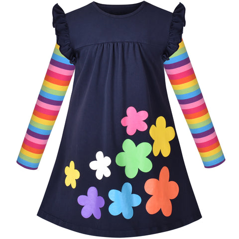 Girls Dress Colorful Daisy Flower Rainbow Long Sleeve Cotton Size 3-8 Years