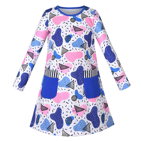 Girls Dress Long Sleeve Cute Blue Pocket Casual Cotton Size 3-7 Years