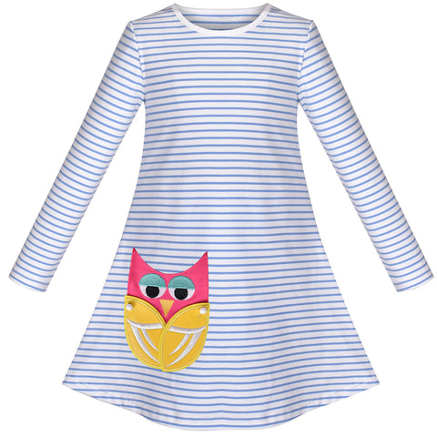 Girls Dress Long Sleeve Cute Embroidered Owl Casual Cotton Size 3-8 Years