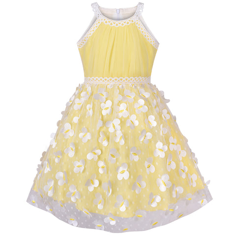 Girls Dress Yellow Dimensional Butterfly Halter Dress Party Size 5-12 Years