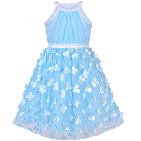 Girls Dress Blue Dimensional Butterfly Halter Dress Party Size 5-12 Years
