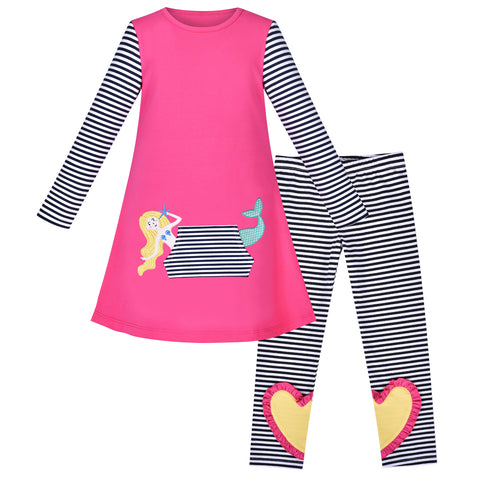 Girls Outfit Set Cotton Dress Legging Mermaid Pocket Heart Size 3-6 Years