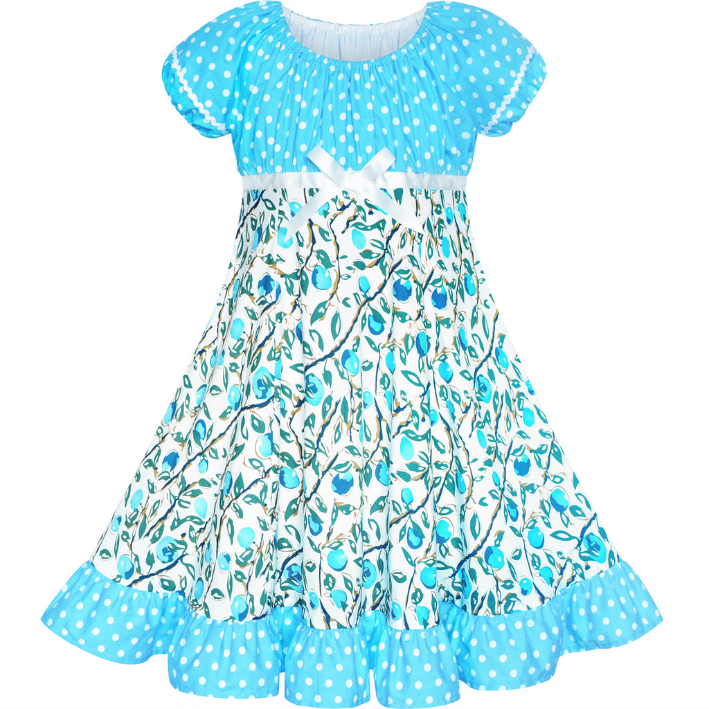 Girls Dress Blue Polka Dot Classic Vintage Holiday Sundress Size 6-12 Years
