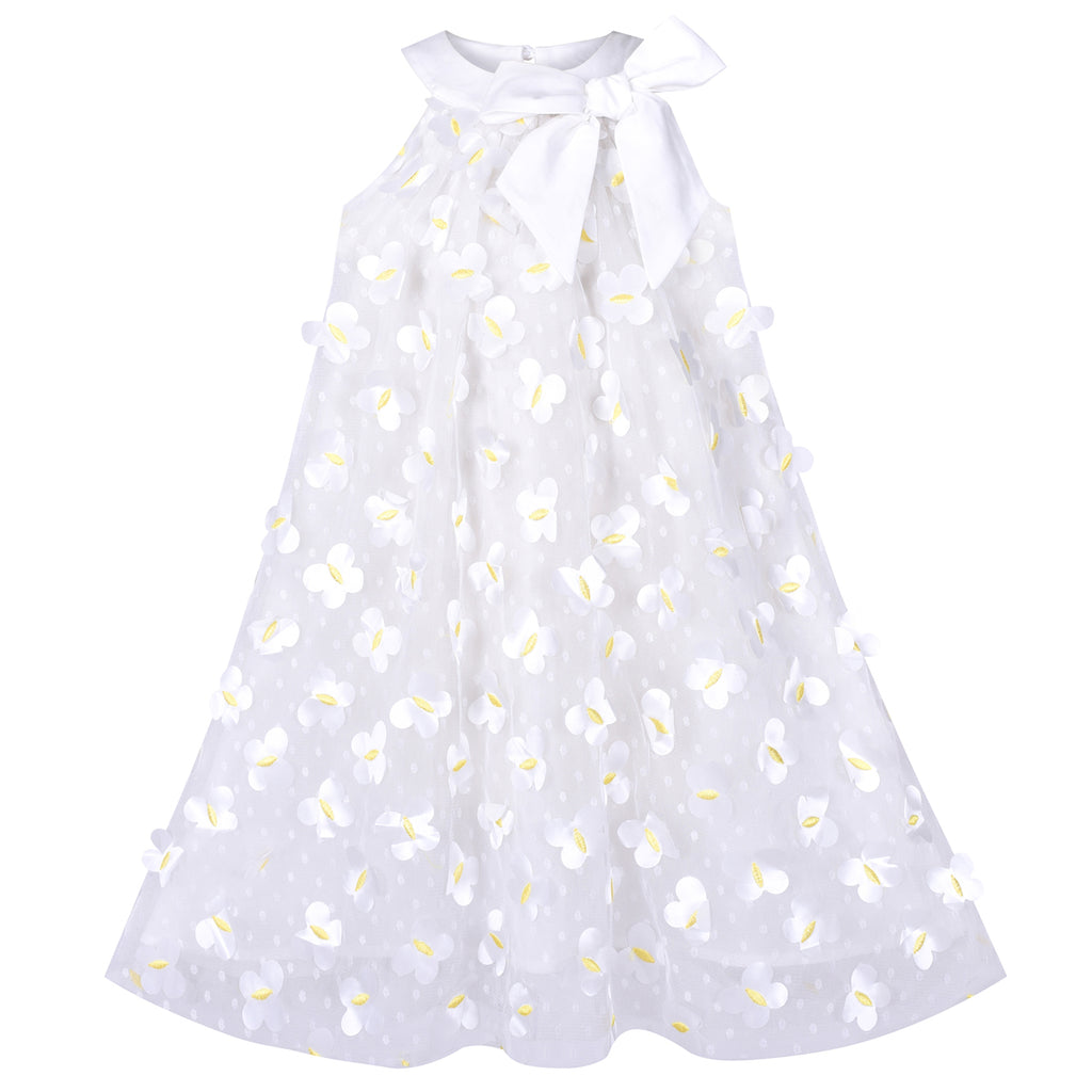 Girls Dress A-line White Embroidered Butterfly Bow Tie Birthday Party Size 4-8 Years