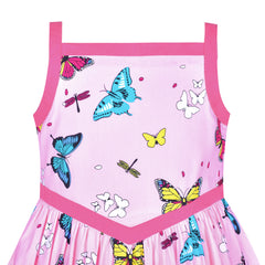 Girls Vintage Dress 50s Retro 1950s Rockabilly Pink Butterfly Size 6-12 Years