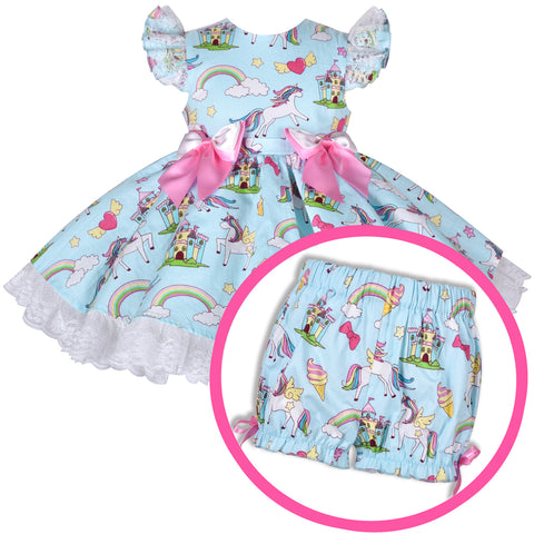 Girls Dress Blue Spanish Princess Rainbow Unicorn Shorts Set Size 3-6 Years