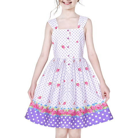 Girls Dress 50s Vintage Rockabilly Button Front Polka Dot Size 6-12 Years
