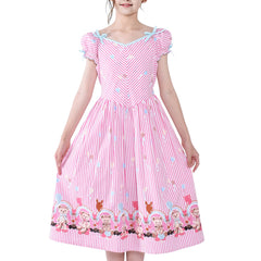 Girls Vintage Dress 50s Retro 1950s Rockabilly Pink Dress Short Sleeve Size 6-12 Years