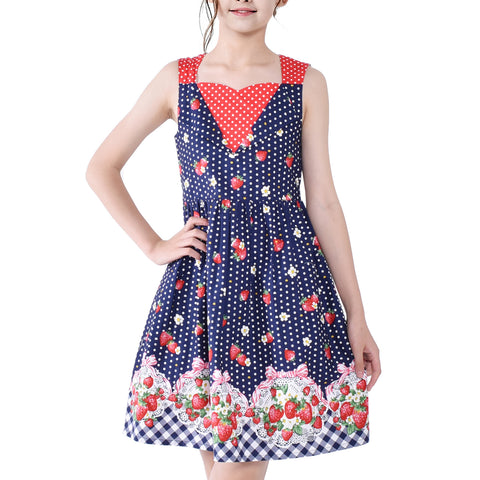 Girls Dress Navy Blue 50s Vintage Dress Strawberry Polka Dot Size 6-12 Years