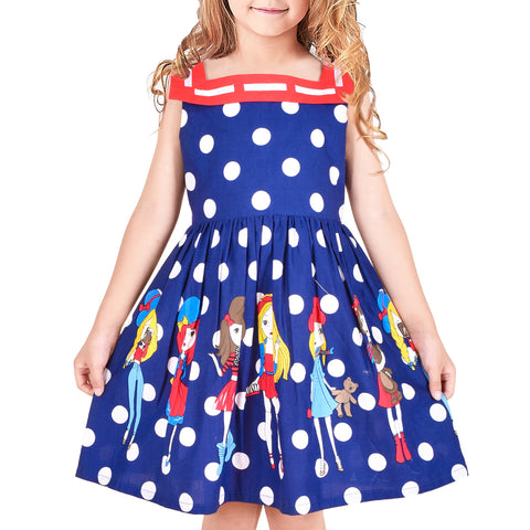 Girls Vintage Dress Retro 1950s Rockabilly Polka Dot Square Collar Size 6-12 Years
