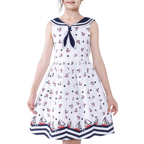 Girls Vintage Dress Retro 1950s Rockabilly Sailor Collar Water Ripple Size 6-12 Years