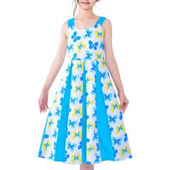 Girls Vintage Dress Retro 1950s Rockabilly Pleated Skirt Butterfly Size 6-12 Years