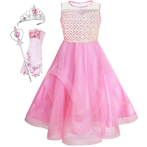 Flower Girls Dress Embroidered Sequin Magic Wand Tiara Bridesmaid Size 7-14 Years