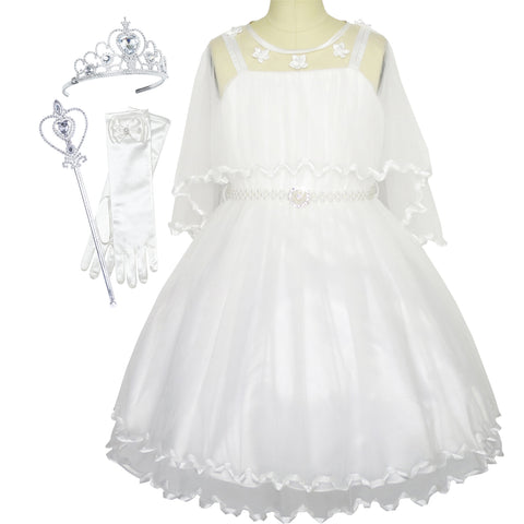 Flower Girls Dress Pearl Belt White Wedding Party Crown Magic Wand Size 3-14 Years