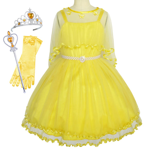 Flower Girls Dress Pearl Belt Yellow Wedding Party Crown Magic Wand Size 3-14 Years