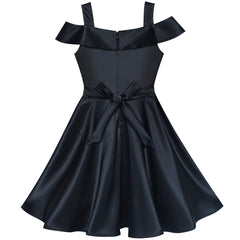Girls Dress Black Off Shoulder Flare Party Swing Twirly Vintage Dress Size 6-8 Years