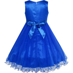 Flower Girls Dress Royal Blue Crown Gloves Lace Pearl Wedding Size 3-12 Years