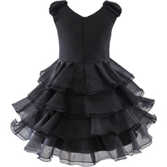 Girls Dress Ruffle Tutu Tiered Dress Sequin Crown Wand Dancing Party Size 4-12 Years