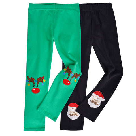 Girls Pants 2-Pack Cotton Leggings Christmas Reindeer Santa Kids Size 2-6 Years