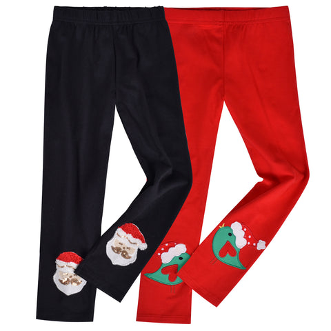 Girls Pants 2-Pack Cotton Leggings Christmas Bird Santa Kids Size 2-6 Years