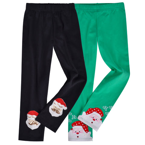 Girls Pants 2-Pack Cotton Leggings Christmas Santa Kids Size 2-6 Years