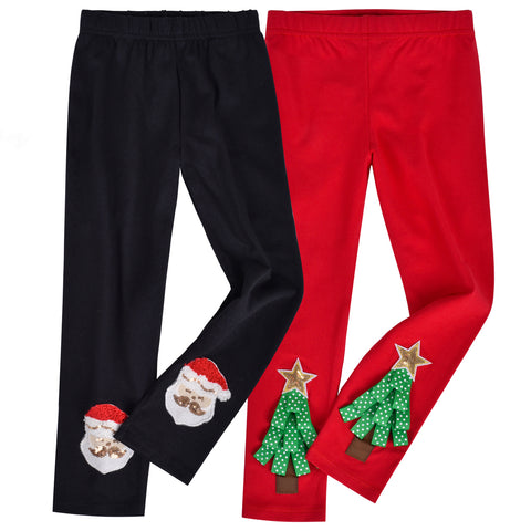 Girls Pants 2-Pack Cotton Leggings Christmas Tree Santa Kids Size 2-6 Years