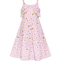 Girls Dress Pink Sleeveless Daisy Floral Easter Party Spring Size 6-12 Years