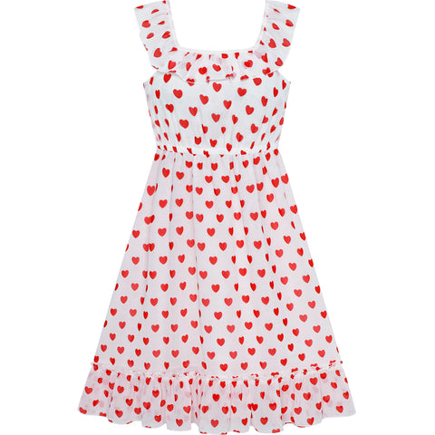 Girls Dress Pink Sleeveless Red Heart Valentine's Day Party Size 6-12 Years