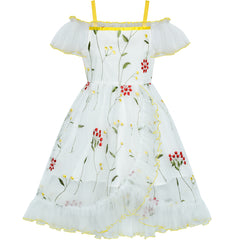 Girls Dress Off Shoulder Flower Embroidered Ruffle Skirt Party Pageant Size 6-12 Years